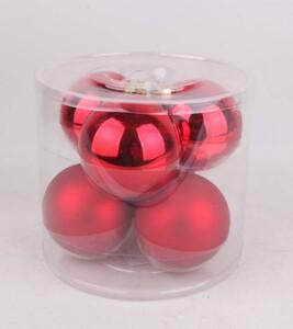 TrendLine Glaskugeln ,  uni glanz/matt, 80 mm, weihnachtsrot