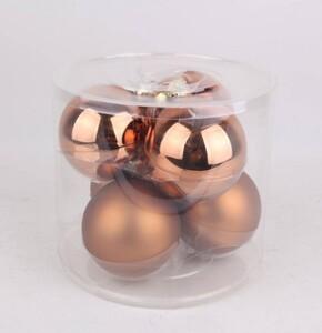 TrendLine Glaskugeln ,  uni glanz/matt, 80 mm, lederbraun
