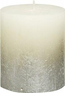 Bolsius Rustik Stumpenkerze Metallic ,  elfenbein-champagner, Höhe 8 cm, Ø 6,8 cm