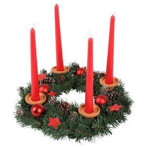 Adventskranz mit Kerzenhaltern Rot 35cm