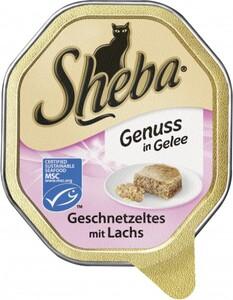 Sheba Katzennassfutter - Delikatesse in Gelee Geschnetzeltes mit Lachs ,  85 g