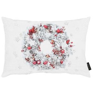 APELT Zierkissen WINTERWELT 35 x 50 cm Weiß mit Kranzmotiv