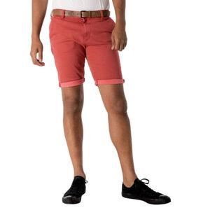 Tom Tailor Denim Shorts, Slim Fit, Chino-Stil, Kontrast-Gürtel, Baumwoll-Mix, rot, S