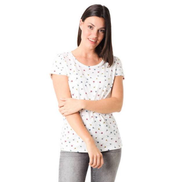 Esprit T-Shirt, Allover-Print, Rundhalsausschnitt, Baumwoll-Mix, weiß, S