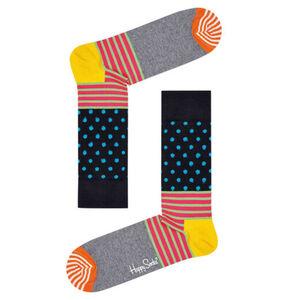 Happy Socks Socken gestreift und gepunktet, grau/bunt, 36-40, 36-40