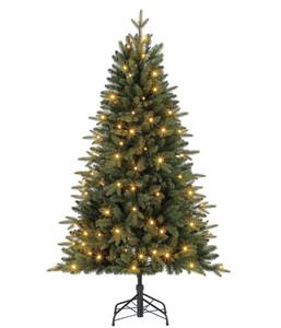 Dehner Künstlicher Weihnachtsbaum Tanne 'Espen' mit LED-Beleuchtung, 150 cm