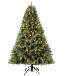 Dehner Künstlicher Weihnachtsbaum Tanne 'Stellan' mit LED-Beleuchtung, 210 cm