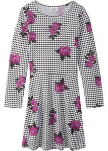 Langarm-Jerseykleid, allover bedruckt