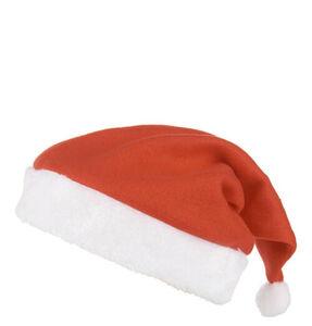 Galeria home Weihnachtsmütze, Filz-Optik, Krempe, Bommel, rot-weiß