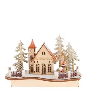 """Galeria Selection Weihnachtsdekoration """"LED Lichthaus"""", 16 cm, beleuchtet, batteriebetrieben, hellbeige"""