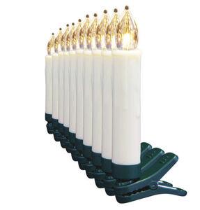 Galeria Selection LED-Christbaumkerzen, 10 Stück, warm-weiß, batteriebetrieben, weiß