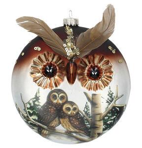 Galeria Selection Weihnachtskugel, 12 cm, Glas, Eule, Federn, Pailletten, braun/silber