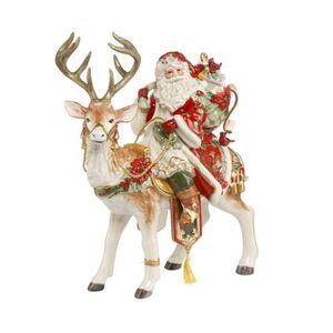 Fitz&Floyd Figur Santa auf Hirsch, mehrfarbig