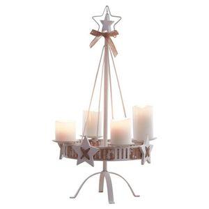 Pureday Kerzenständer 'White Christmas', weiß, Metall, weiß