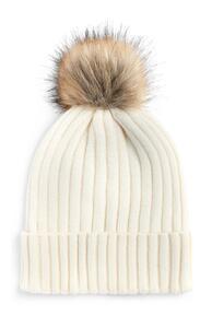 Ecrufarbene Mütze mit Kunstfell