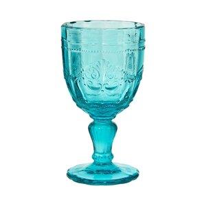 6x Trinkglas mit Stiel 230ml türkis