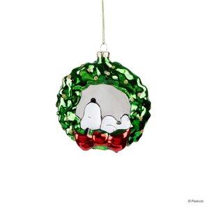 Glasanhänger Snoopy im Kranz