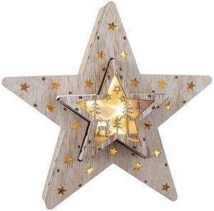 LED-Stern - aus Holz - 30,5 x 28,5 cm