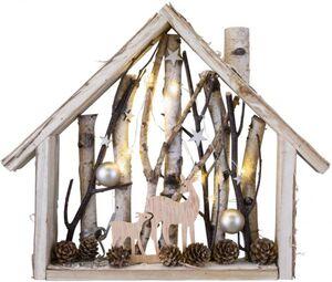 LED-Haus - aus Holz - 35,5 x 6 x 32 cm