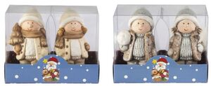 Winterkinder - aus Terrakotta - 5,5 x 4 x 9 cm - 1 Set
