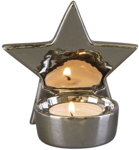 Teelichthalter - Stern - aus Keramik - 10 x 7 x 9,5 cm