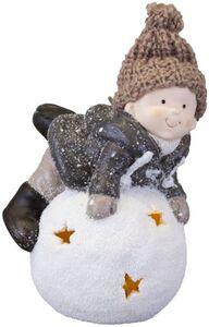 Winterkind auf LED-Schneeball - aus Terrakotta - 13 x 10,5 x 18,5 cm