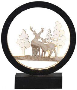 LED-Standdeko - aus Holz - Rentiere - 16,5 x 5 x 19,5 cm