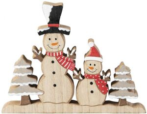 Schneemänner - aus Holz - 18 x 2 x 14 cm