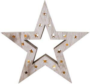 LED-Stern - aus Holz - 35 x 7 x 33 cm
