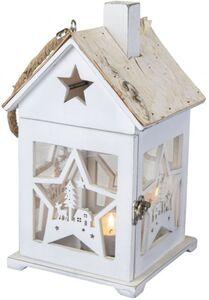 Windlicht - Haus - Stern - aus Holz - 15 x 14 x 27 cm
