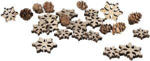 Streudeko - Schneeflocken - aus Holz - 24 Teile
