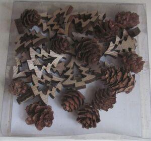 Streudeko - Bäume - aus Holz - 36 Teile