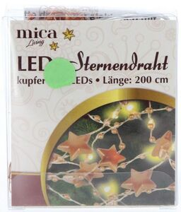 20er LED-Lichterdraht - Sterne - 2 m - kupfer