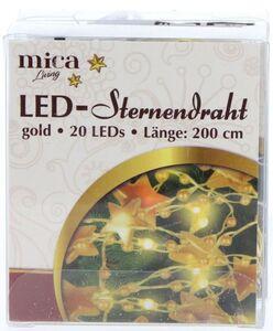 20er LED-Lichterdraht - Sterne - 2 m - gold
