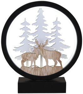 LED-Standdeko - aus Holz - Rentiere - 20 x 5 x 23 cm