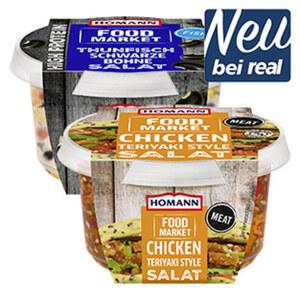 Homann Food Market Chicken Teriyaki Style Salat 150g oder Protein Thunfisch Salat 135g und weitere Sorten jede 135/150-g-Packung