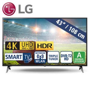 "43""-Ultra-HD-LED-TV 43UM7000PLA • TV-Aufnahme über USB, HbbTV • 3 HDMI-/2 USB-Anschlüsse, CI+ • 2.0-Soundsystem/10 Watt • Stand-by: 0,5 Watt, Betrieb: 70 Watt • Maße: H 57,5 x B 97,7 x T"