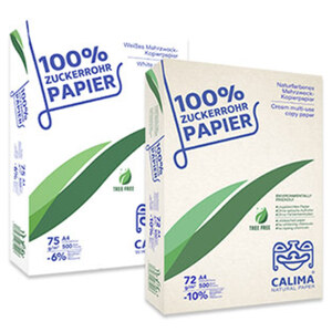 Calima® Mehrzweckapier aus 100 % Zuckerrohr DIN A4, 500 Blatt, weiß = 75 g/m², natur = 72 g/m², ab 3 Packungen, je