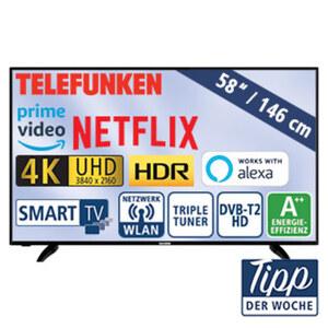 """58""""-Ultra-HD-LED-TV D58U551N4CWH • HbbTV, 1.500-Hz-Technik • 3 HDMI-/2 USB-Anschlüsse, CI+ • 2 x 10 Watt RMS • Stand-by: 0,5 Watt, Betrieb: 66 Watt • Maße: H 72 x B 124,3 x T 5,3 cm • E"""