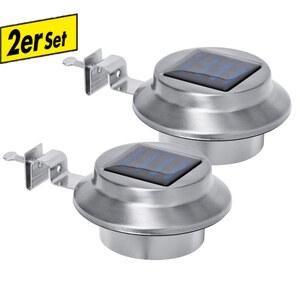 I-Glow LED-Solar-Edelstahl-Dachrinnenleuchte - 2er Set