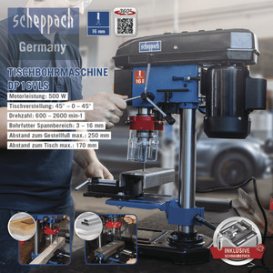 Scheppach Tischbohrmaschine, DP16VLS