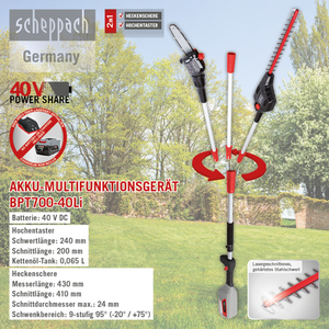 Scheppach Akku-Multifunktionsgerät 2 in 1 BPT700-40Li
