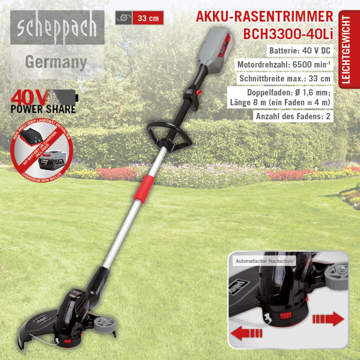 Bild 1 von Scheppach Akku-Rasentrimmer BCH3300-40Li