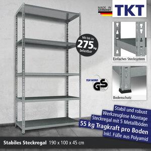 TKT Steckregal mit 5 Metallböden, 190 x 100 x 45 cm