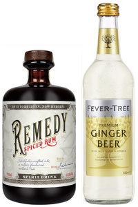 Remedy Spiced Rum 0,7 l + Fever Tree Ginger Beer 0,5 l Geschenkpackung | 41,5 % vol | 0,7 l + 0,5 l