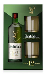 Glenfiddich 12 Jahre Single Malt Scotch Whisky + 2 Tumbler Geschenkset | 40,0 % vol | 0,7 l