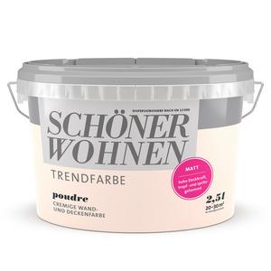 Wand- und Deckenfarbe Trendfarbe 'Poudre' puderrosa matt 2,5 l