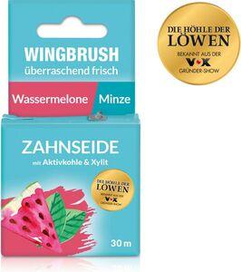 Wingbrush Zahnseide Wassermelone/Minze 30m schwarz mit Aktivkohle & Xylit