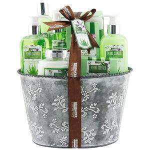 Brubaker Bade- und Dusch Set Aloe Vera 9-teiliges Geschenkset im Vintage Pflanzkübel