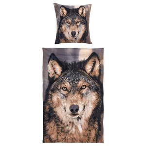 Microfleece-Bettwäsche Wolf (135x200, Fotodruck)